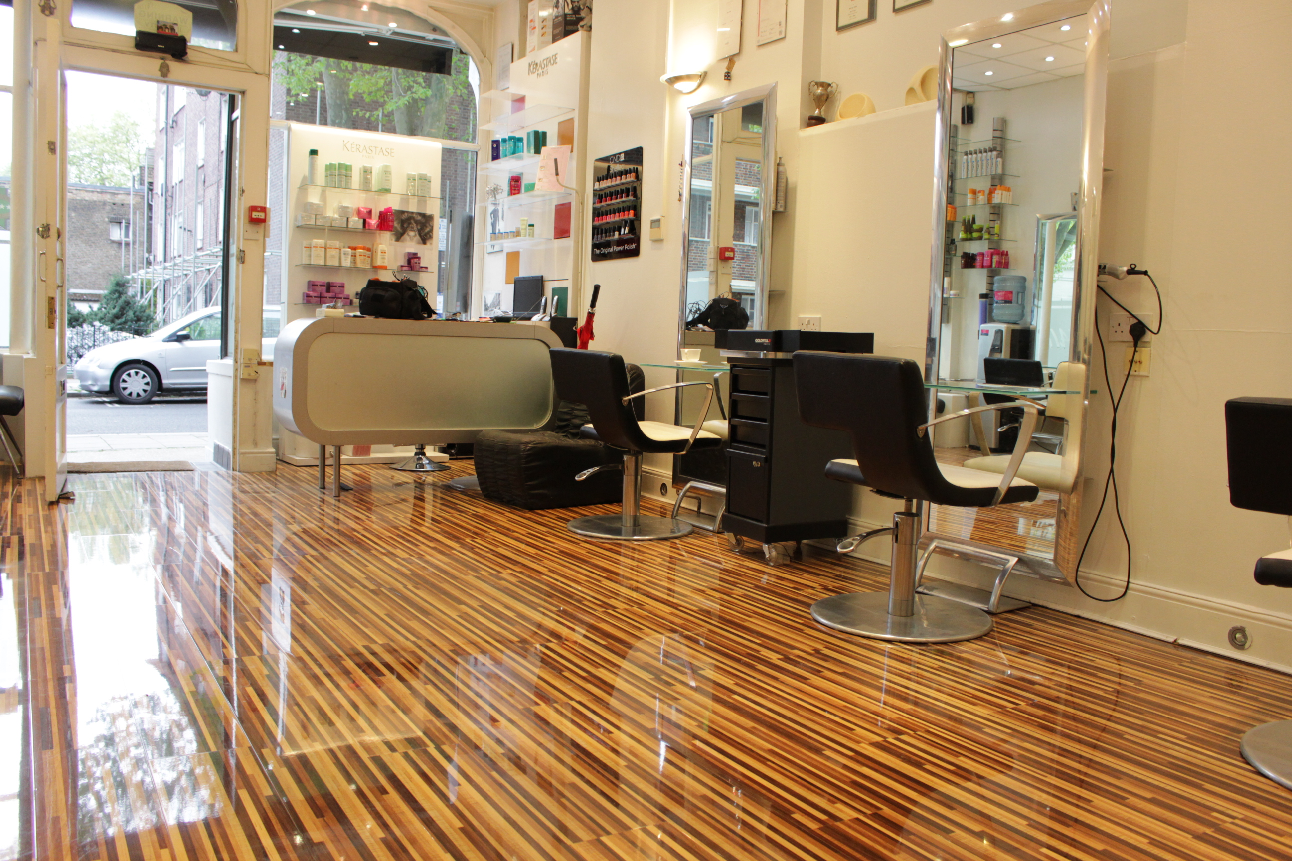 Upmarket st johns wood hair salon installs designer for Salon parquet