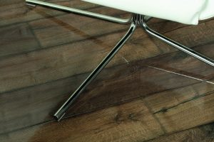 reflective properties of flooring displayed with table