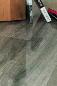Up close on the high-gloss laminate flooring