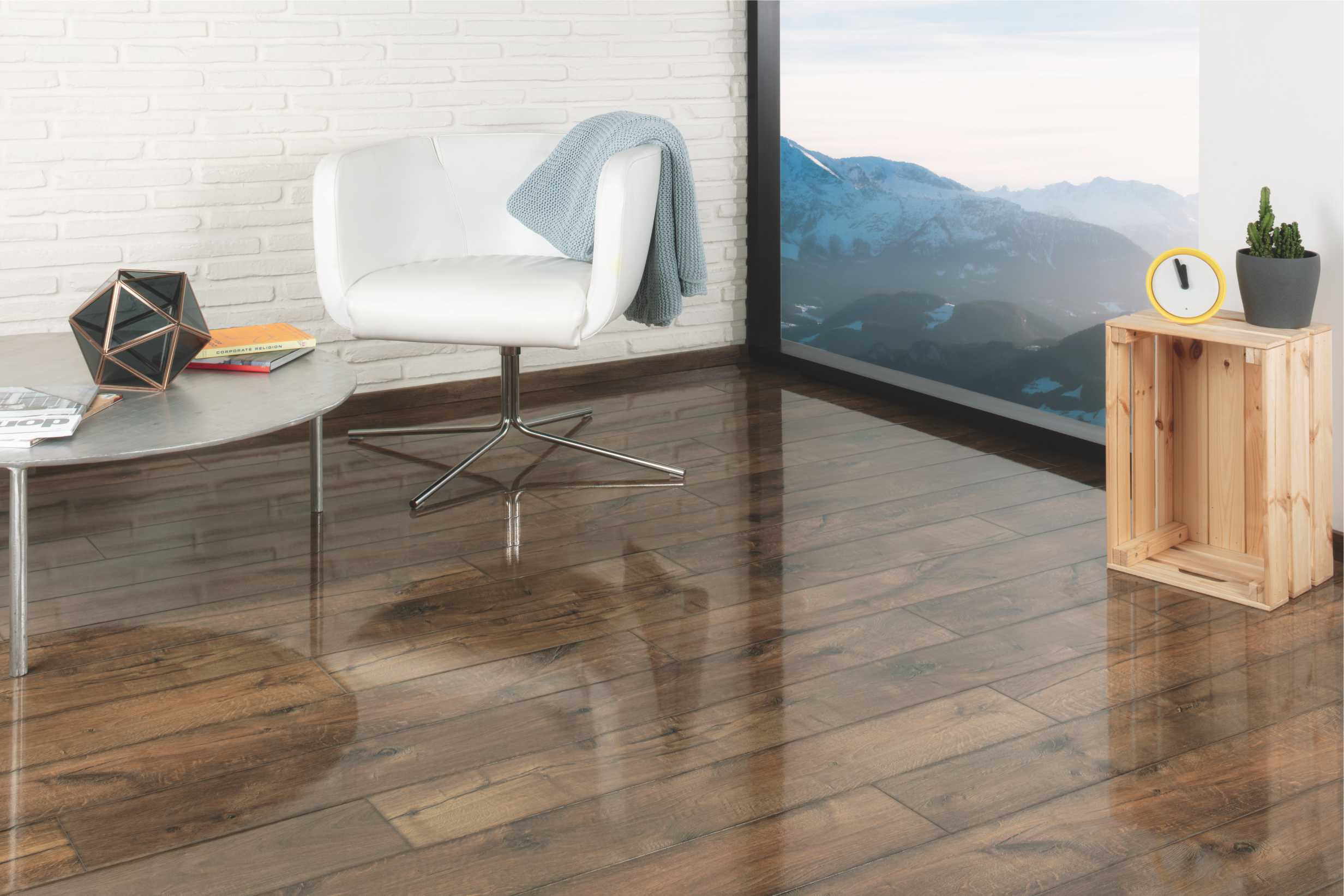 stunning high-gloss, yet rustic laminate flooring