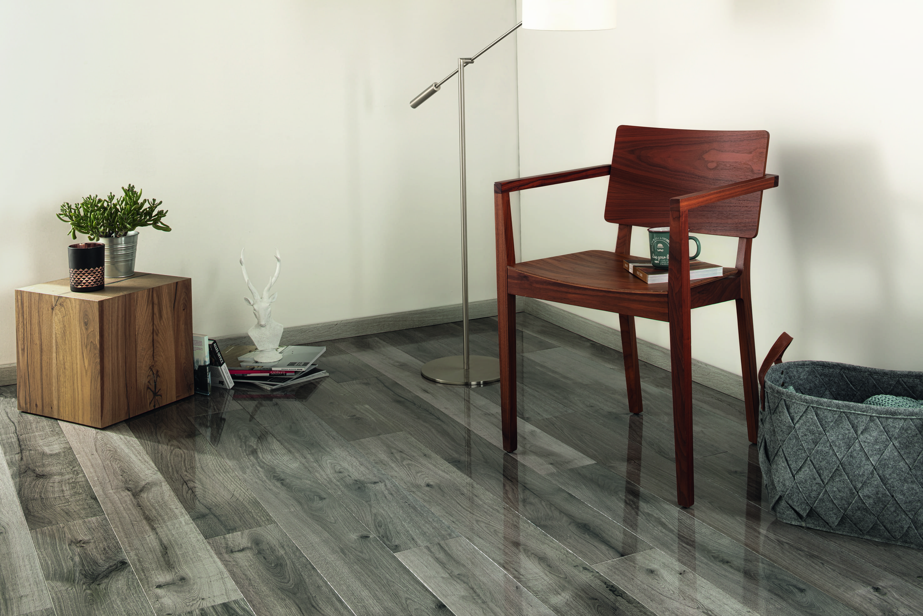 high-gloss flooring modeled in room with chair